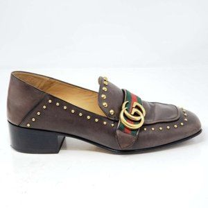 Auth Gucci Web GG Brown Leather Shoes